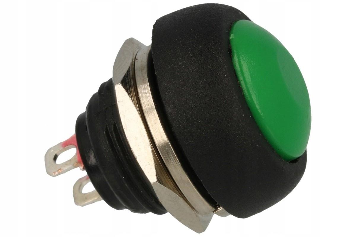 Зеленая кнопка мгновенного действия на панели NO 1A 250VAC