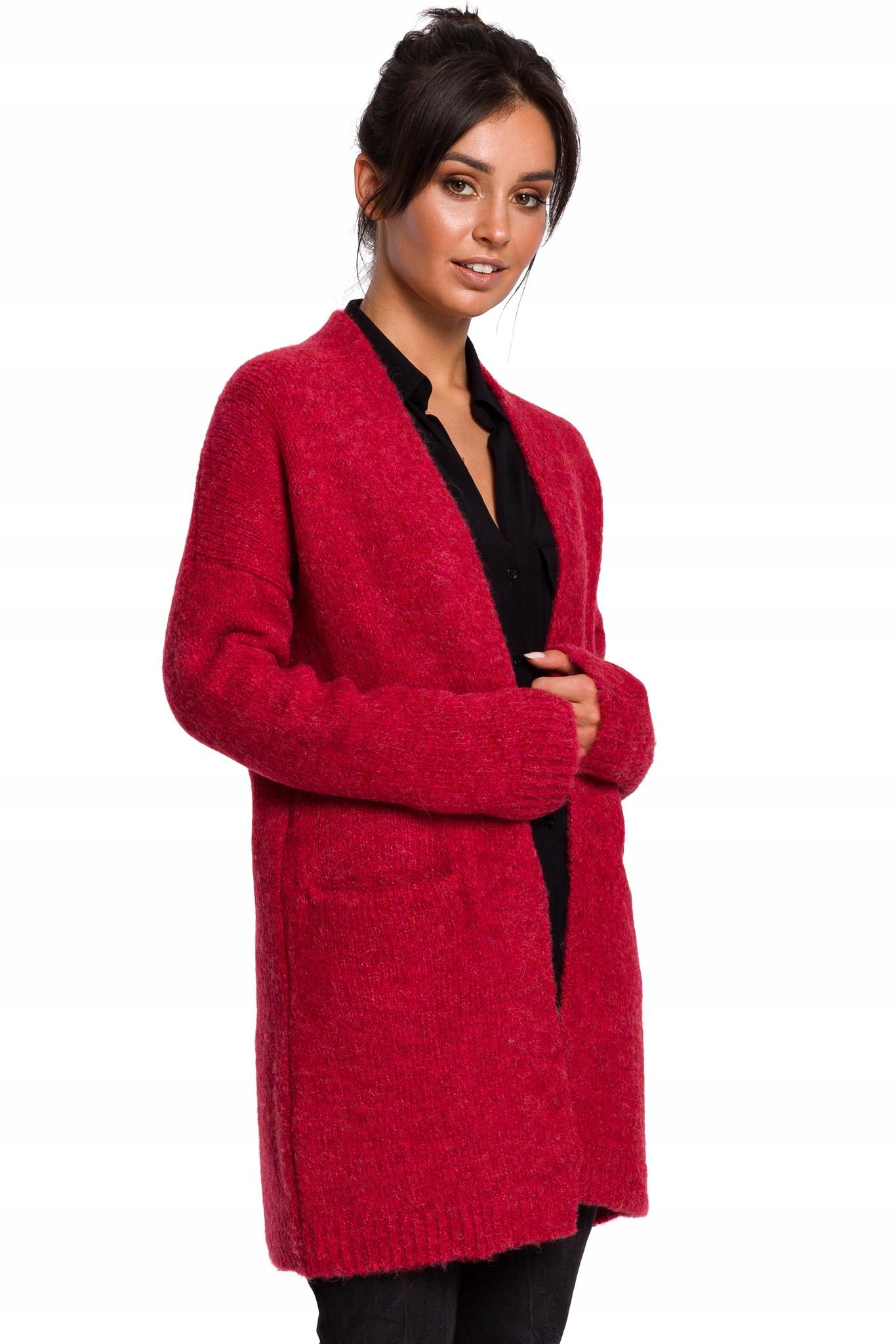 Ciepły Wełniany Kardigan Damski Sweter L/XL