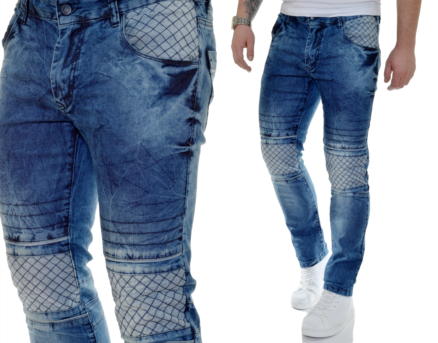 Spodnie Męskie Jeansy na Lato Mondo Przecierane