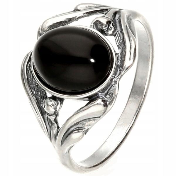 Retro strieborný prsteň s ónyxom Tulipán 16