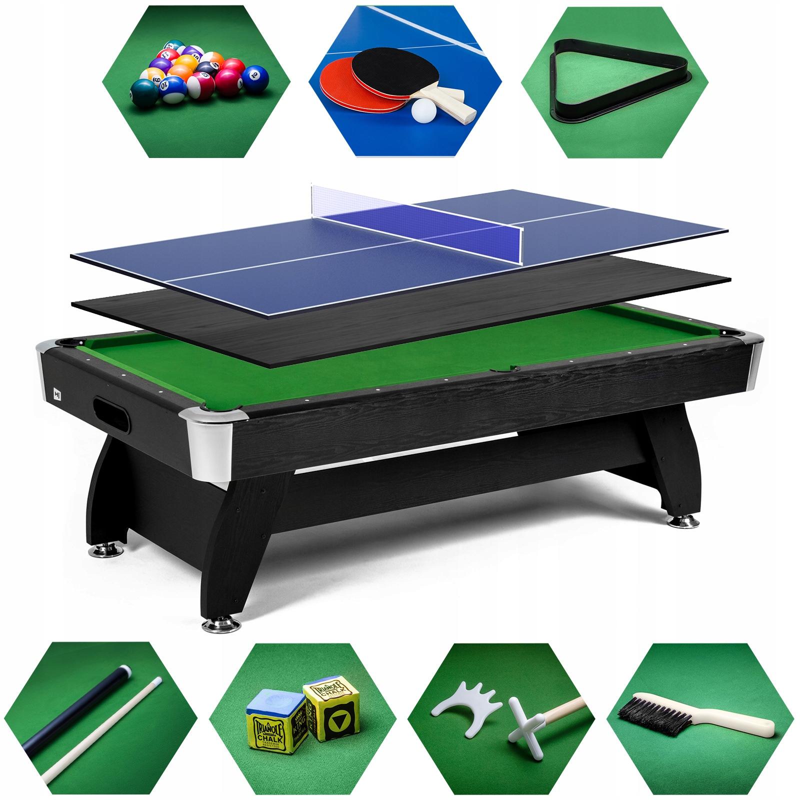 Stół bilardowy 7 ft с накладка ping pong akcesoria