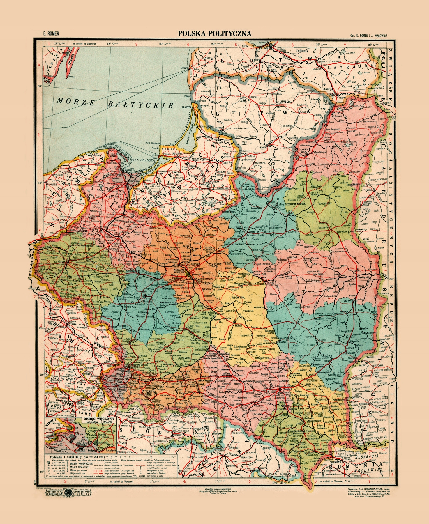 Item POLAND II Republic of Poland, WARSAW, VILNIUS, LVIV, 1939 60x50cmA2