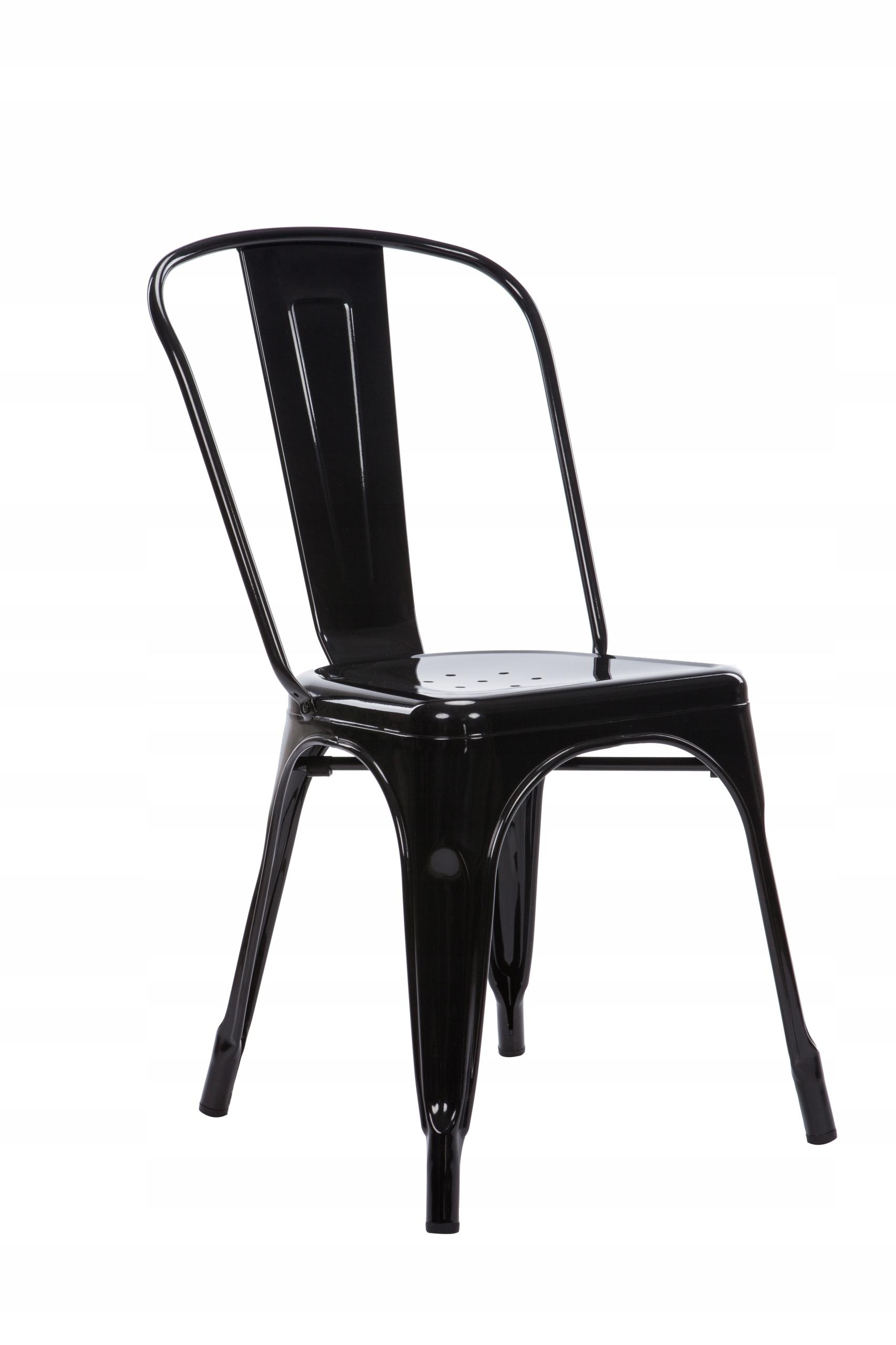 Krzesło metalowe nowoczesne czarne połysk loft