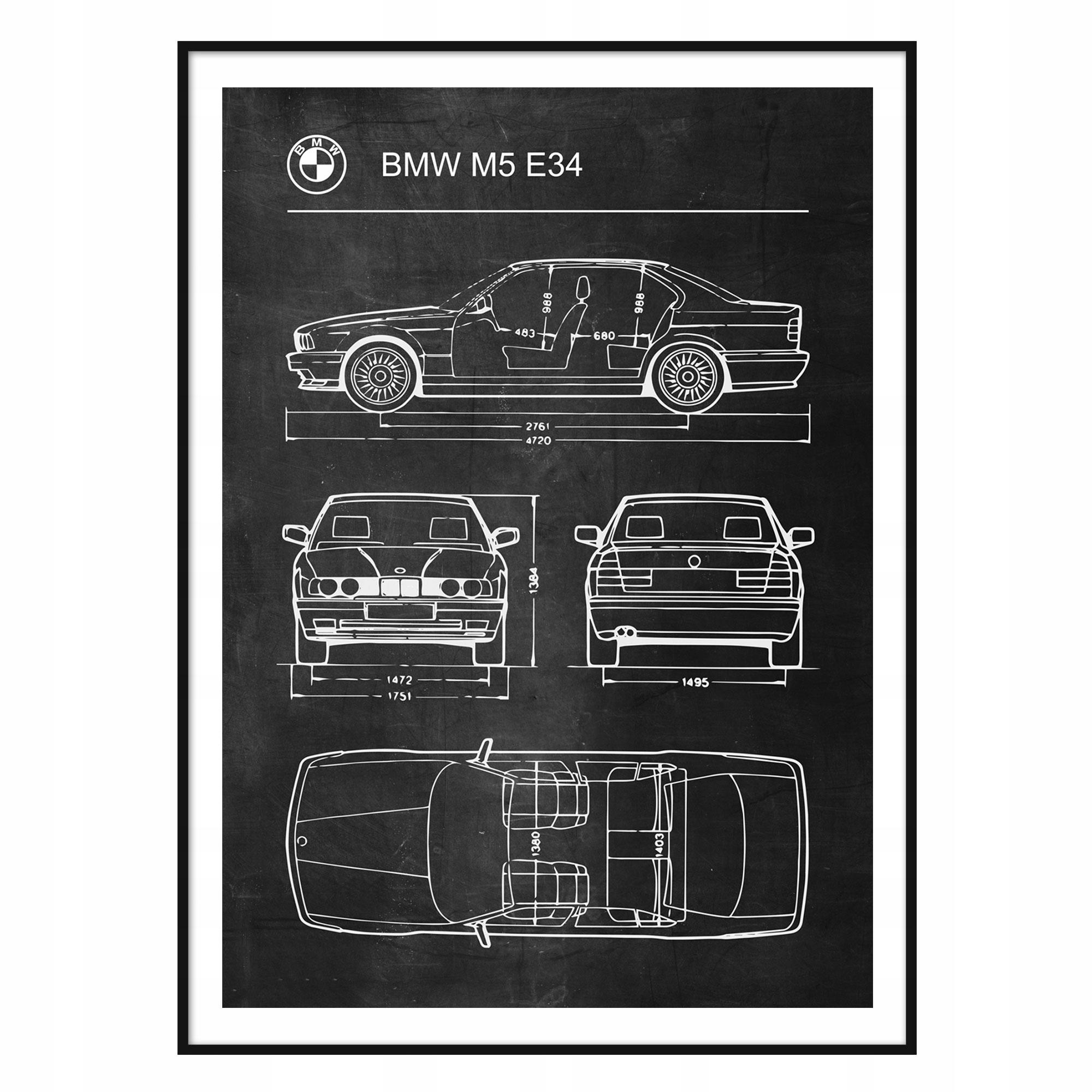 Plagát BMW M5 E34 Retro Patent Plagát Schémy
