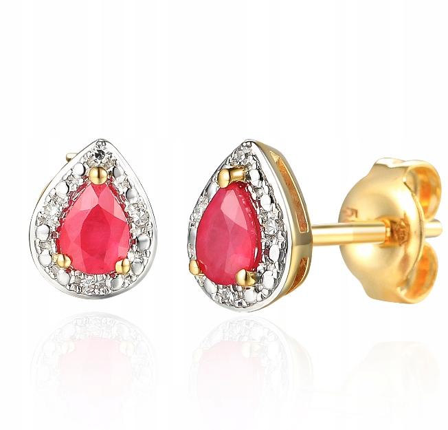 14KT zlata, Náušnice s ruby a Diamanty E69348
