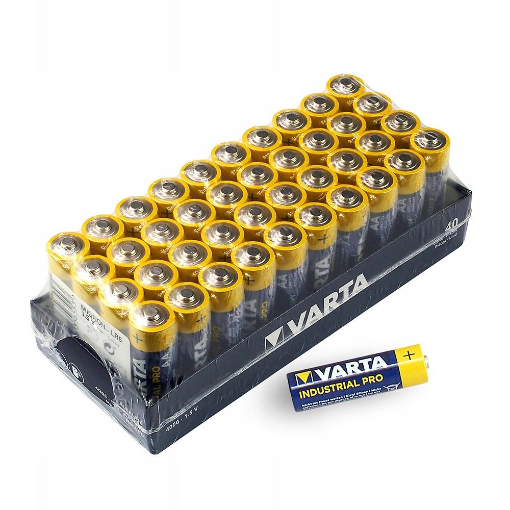 40x alkalické batérie LR6 / AA VARTA Priemyselné