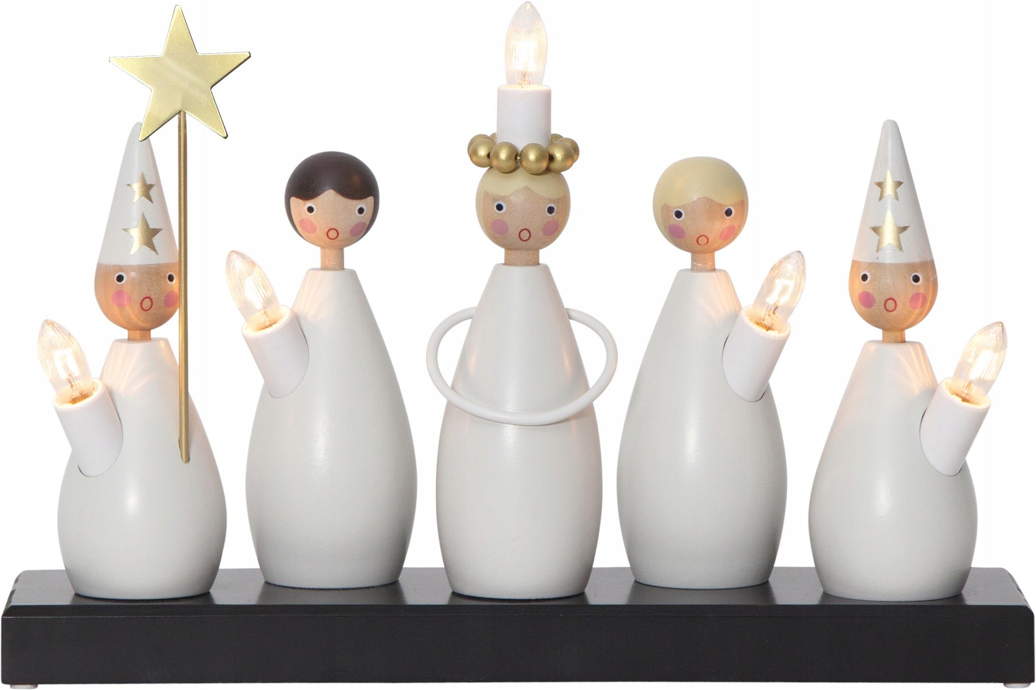 Szwedzki Świecznik świąteczny Drewniany CHÓR LUCIA