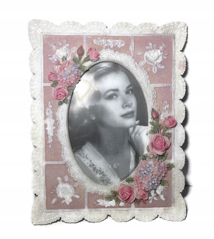 Keramický rám štylizovaný ako staré retro kvety