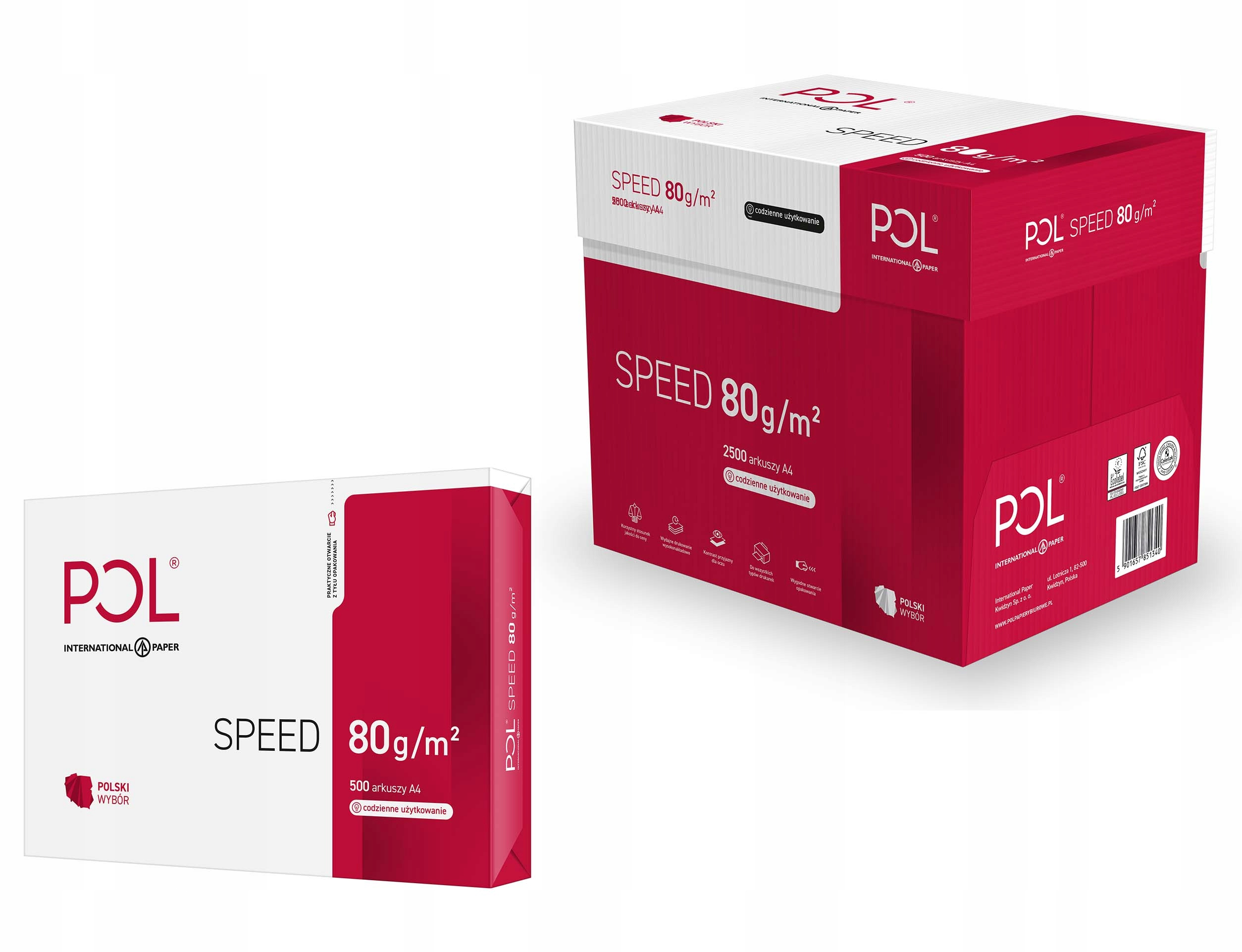 Item Polspeed paper Photocopier A4 80G ENG SPEED 2500, 5 packs