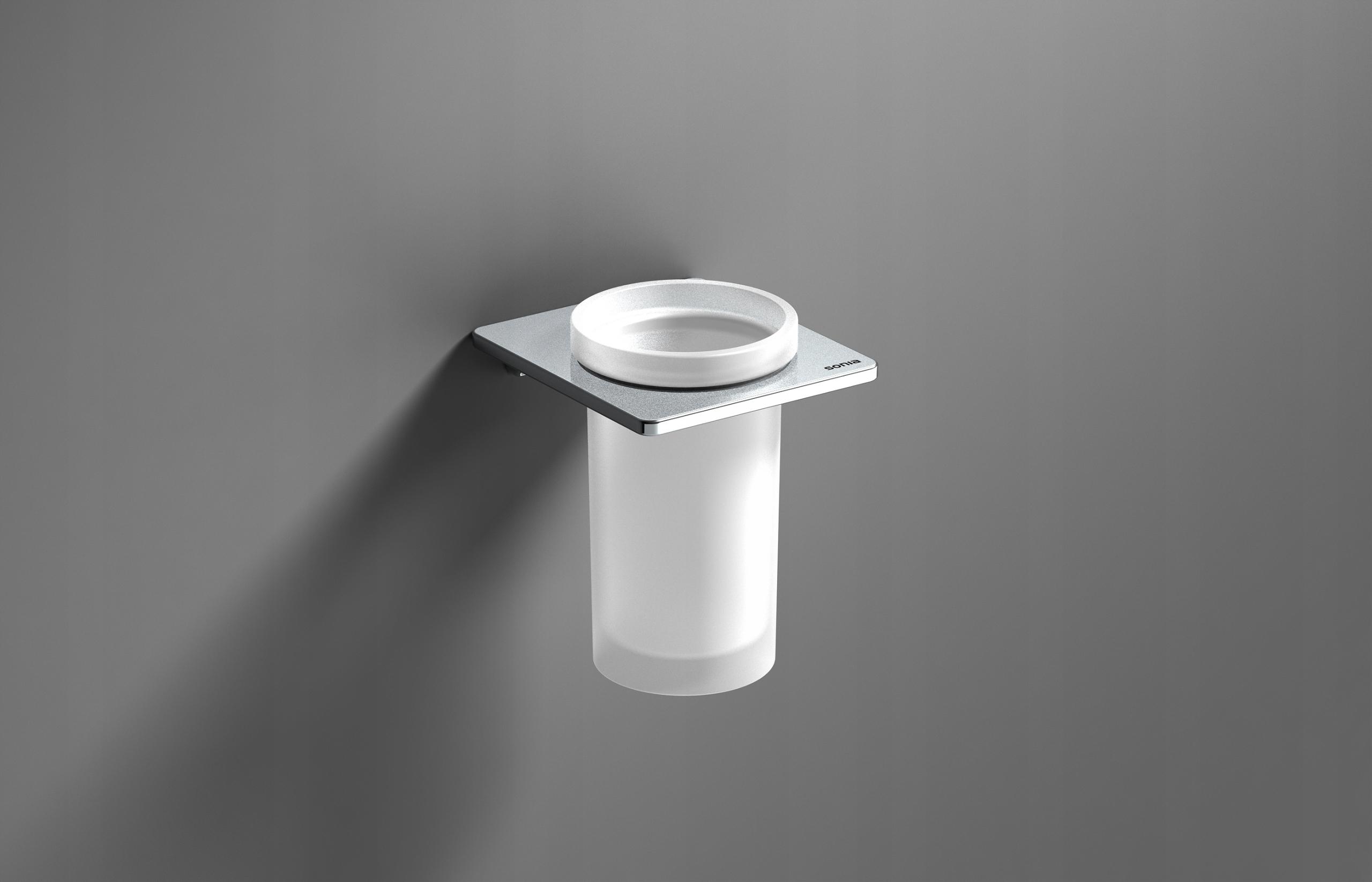 Kúpeľňový pohár LODZ + úchytka SONIA S-Cube, chróm