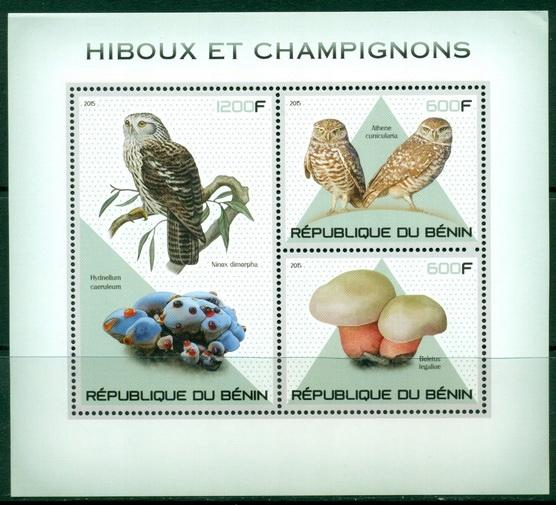Купить Sowy i grzyby ptaki flora Benin bl. ** #BEN1529 на Otpravka - цены и фото - доставка из Польши и стран Европы в Украину.