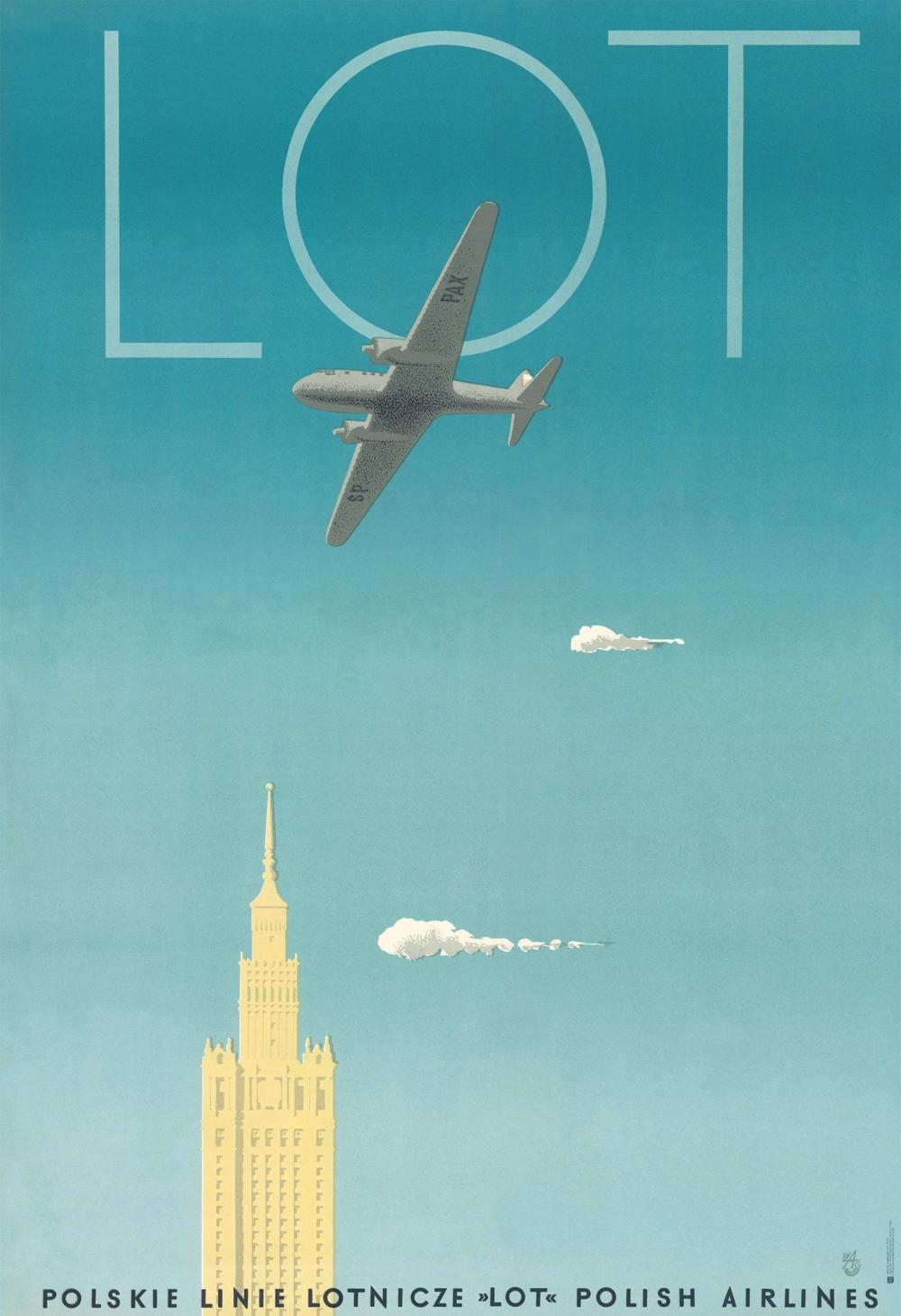Plakat Polskie Linie Lotnicze LOT -Trepkowski 1953