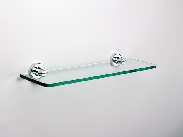 ŁÓDŹ SONIA Tecno 50 sklenená polička do kúpeľne, chróm