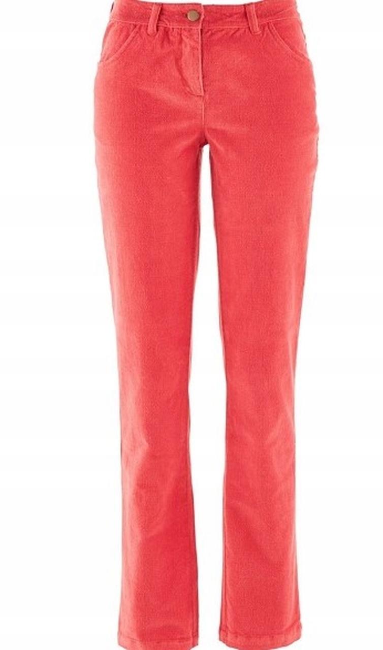 Spodnie Damskie Czerwone Sztruksy Bonprix 40