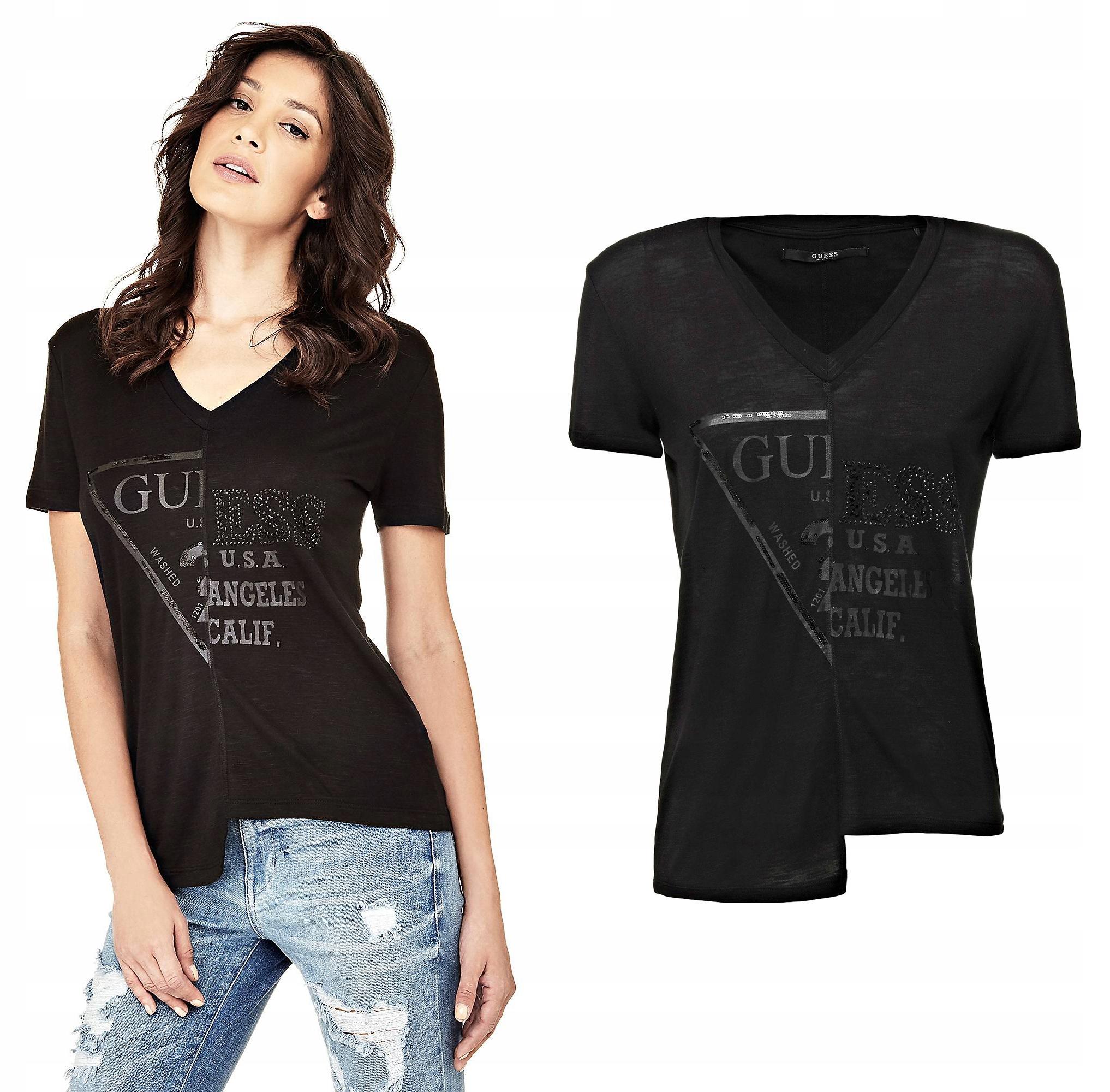 Guess koszulka t-shirt czarna bawełna logo Xs
