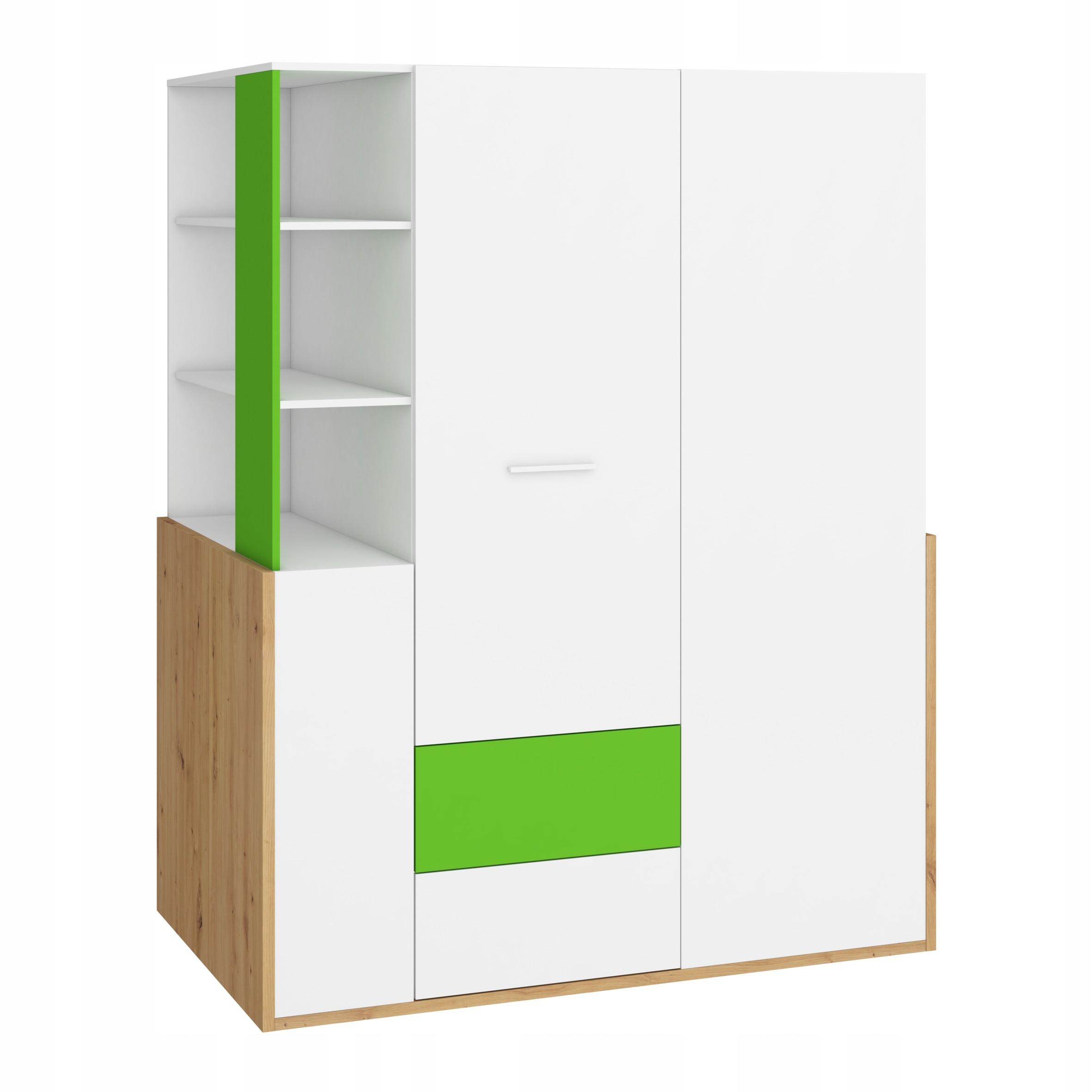 HEJ _21 nábytok, šatníková skriňa artisan 155/ biela / zelená