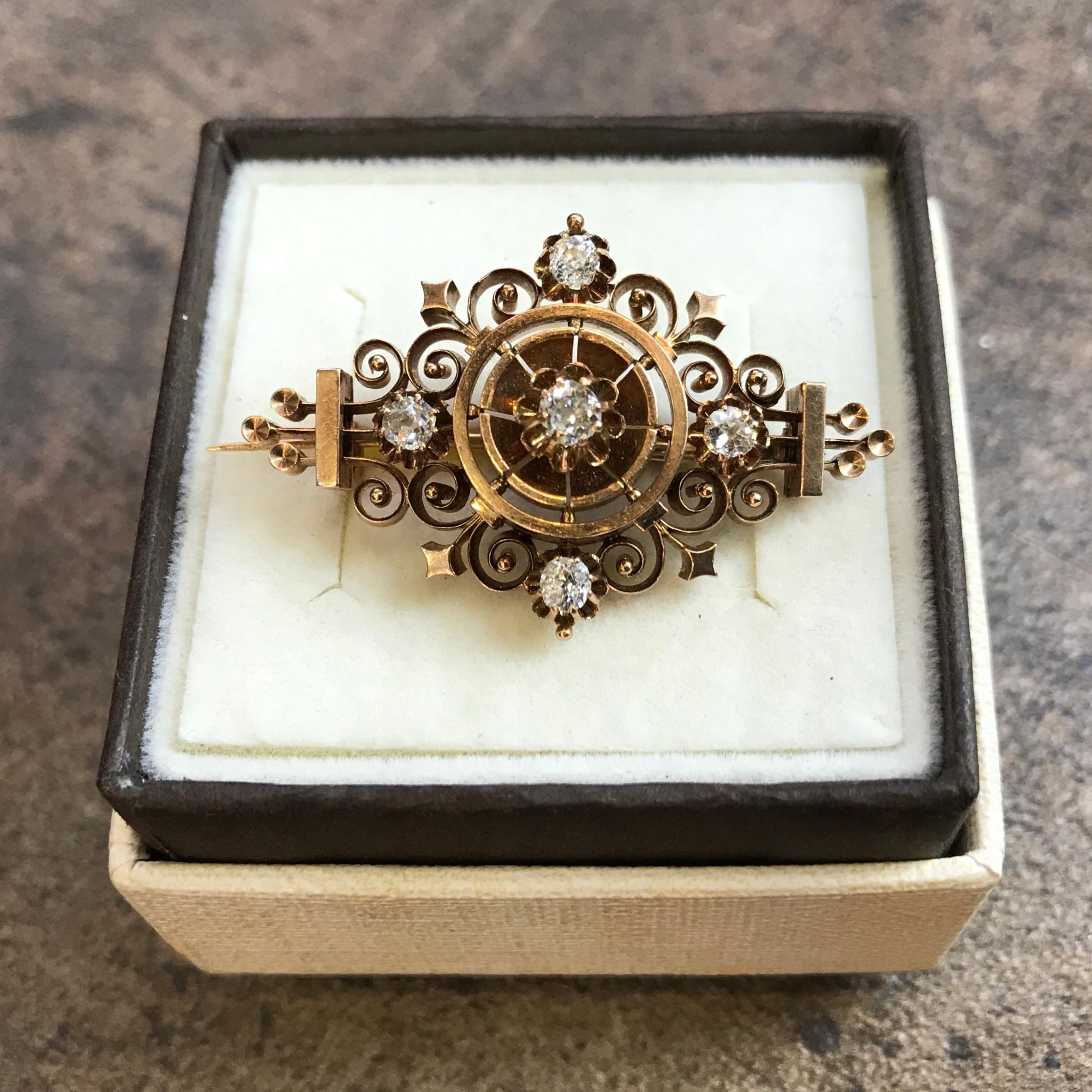 Złota brosza diamenty stare szlify przełom XIX/XXw