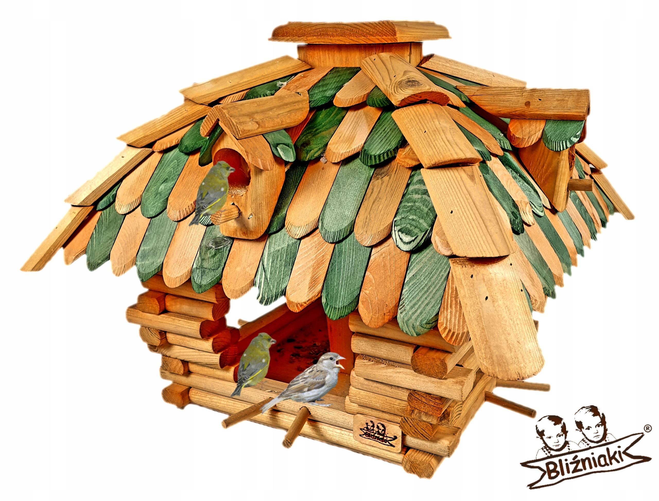 Vták feeder Veľký drevený Dom s Prístreškom XL