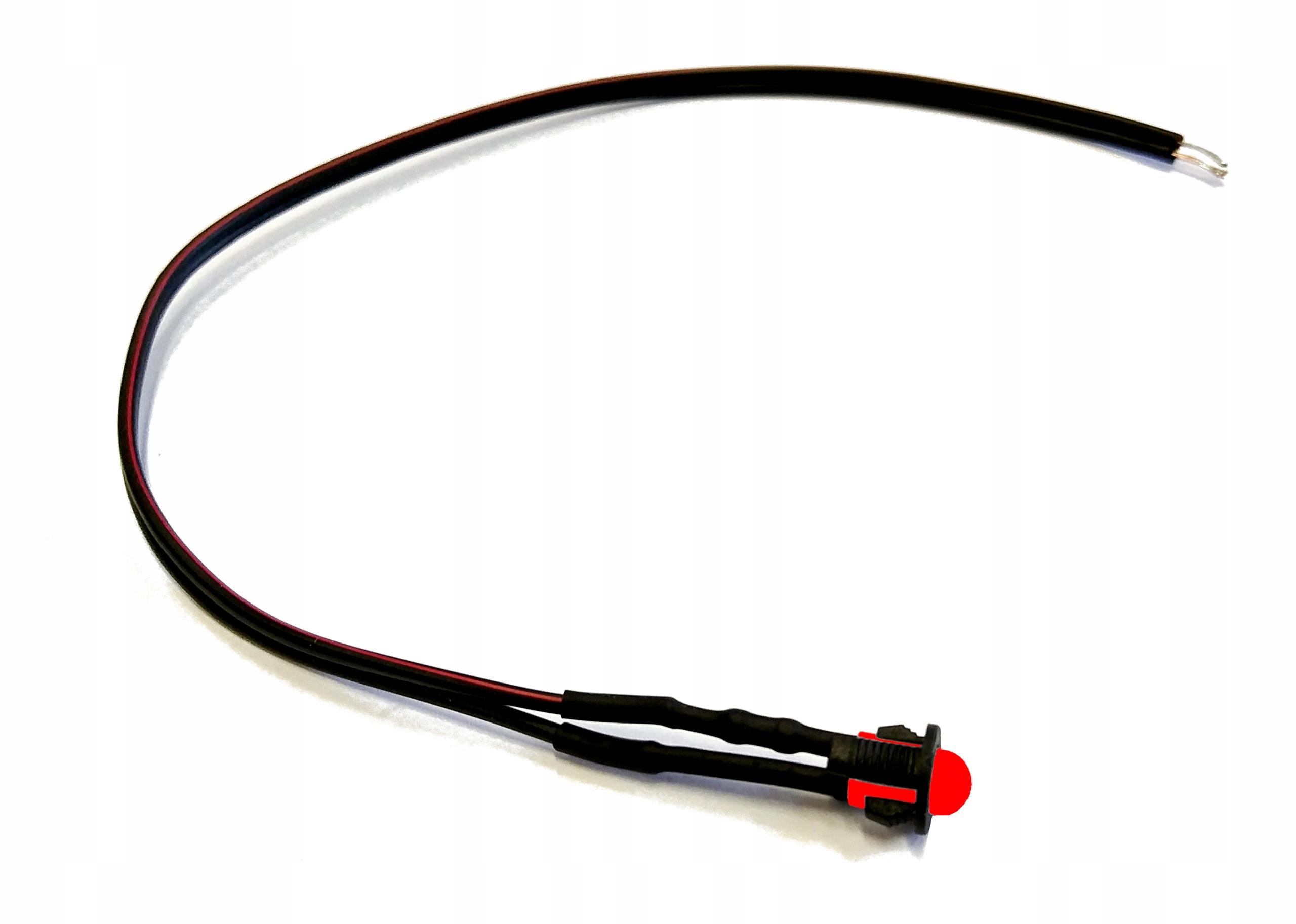 Dioda z kablem 20cm LED 5mm 12V czerwona z oprawką
