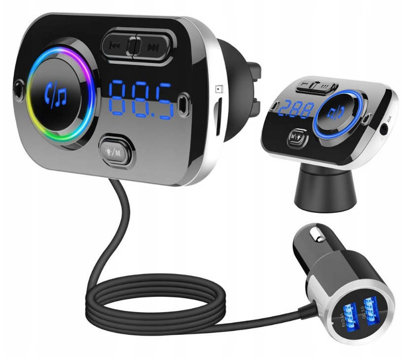 Wielofunkcyjny TRANSMITER FM 2x USB BLUETOOTH MP3
