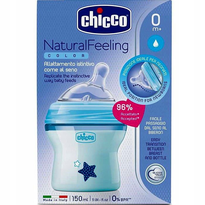 CHICCO BUTELKA NATURAL FEELING 0m+ 150 ml Blue Kod producenta 00080811210000