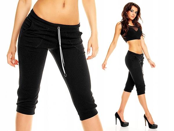 Rybaczki Fitness spodnie 3/4 kieszenie Czarne - S