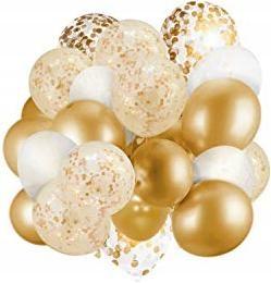 zestaw BALONY złoty biały i konfetti 30 sztuk P17