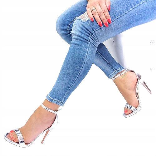 Sandały szpilka srebrne Lustrzane KBU130