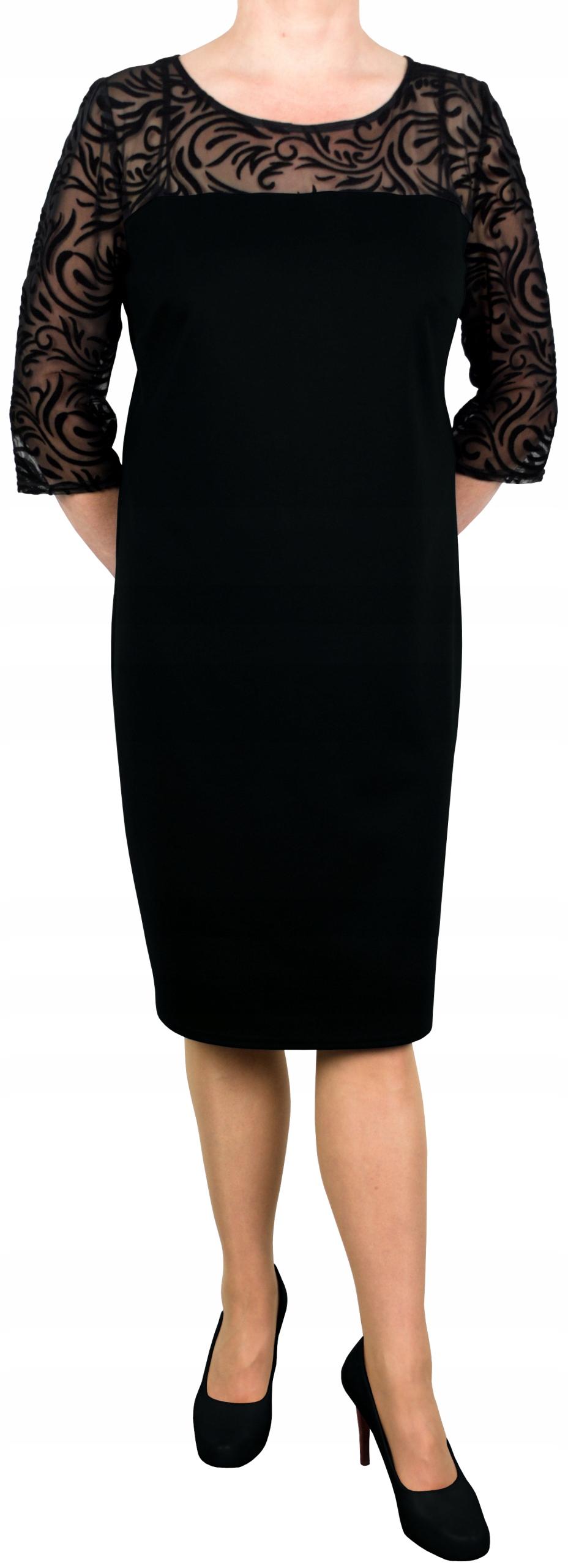 Sukienka elegancka dresowa dzianina tiul czarna 42