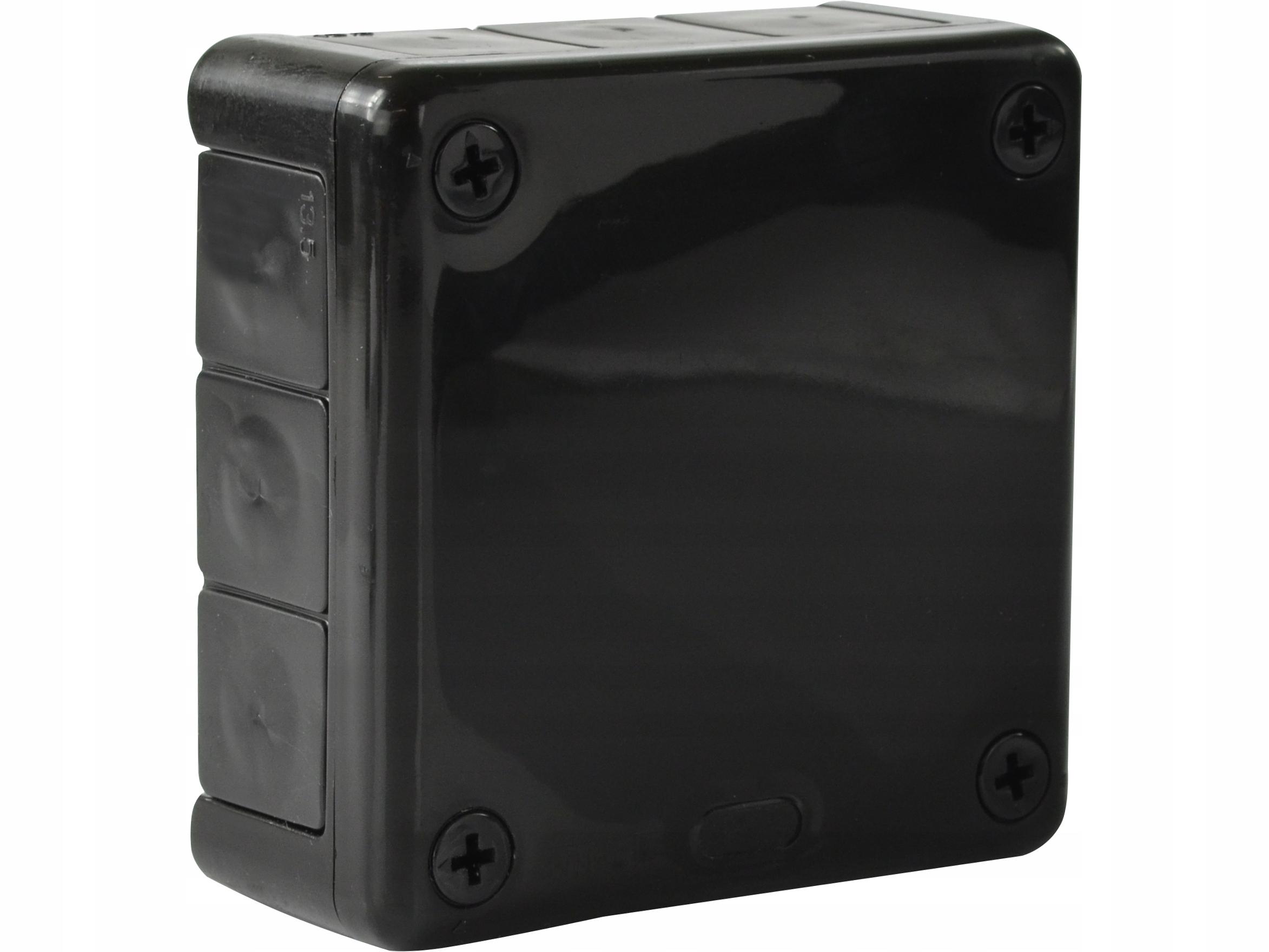 Puszka natynkowa hermetyczna czarna 98x98x42 IP55