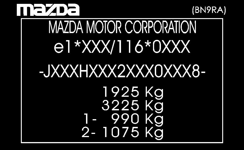 mazda табличка наклейка мощность каждый модель