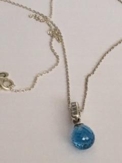 PANDORA náhrdelník modré crystal 70 cm