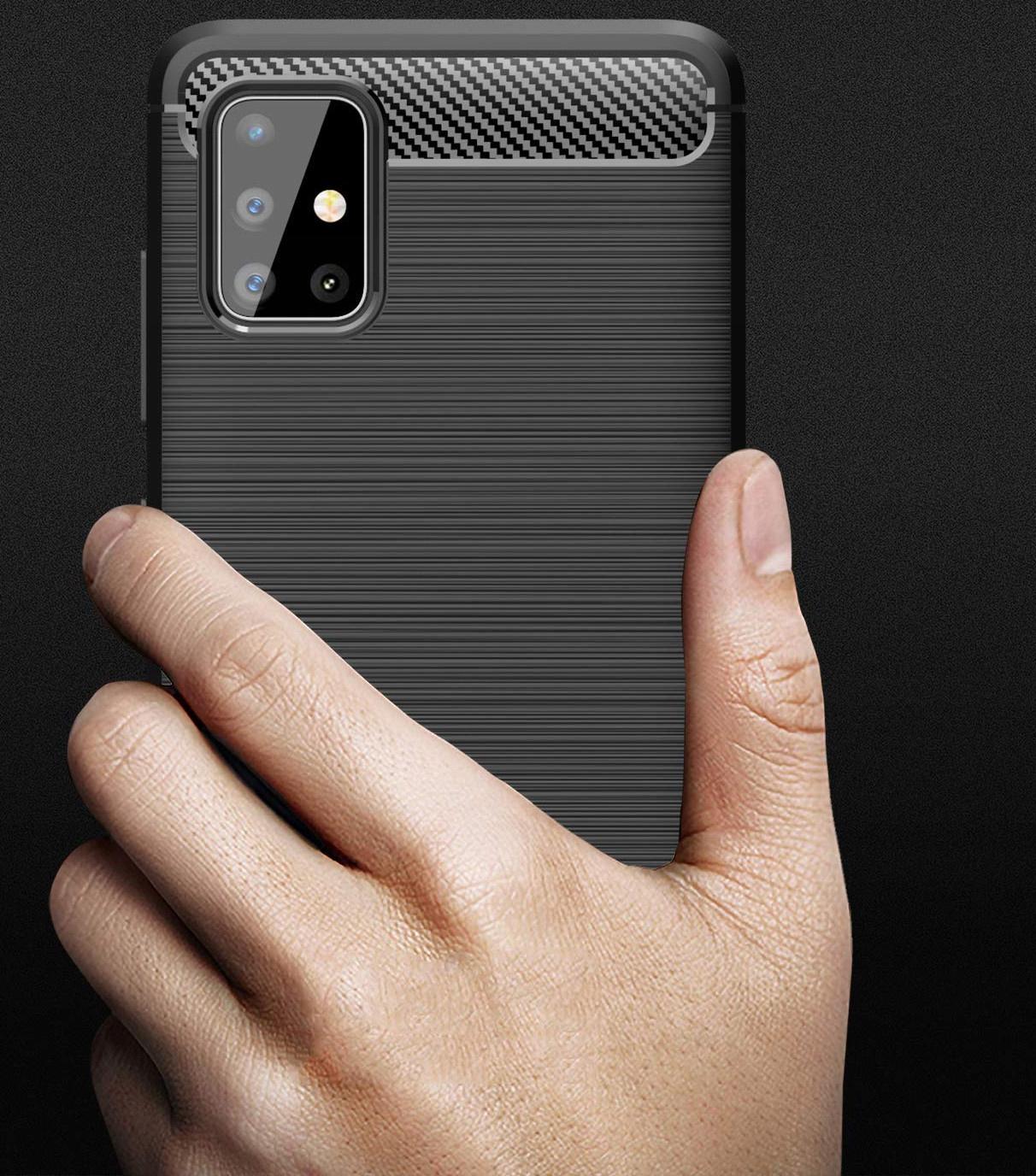 ETUI do Samsung Galaxy M51 KARBON PANCERNE + SZKŁO Materiał skóra ekologiczna