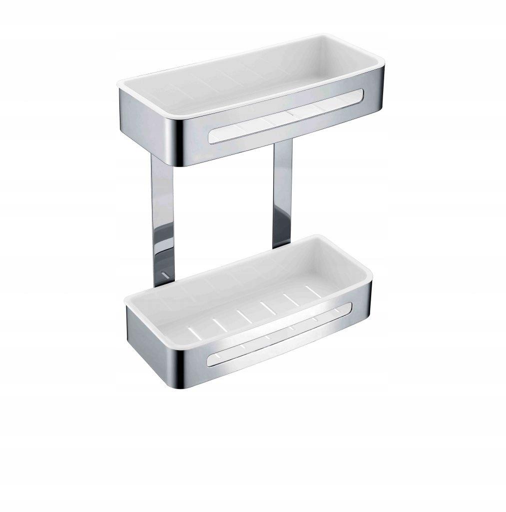 ŁÓDŹ Dvojitý kôš do kúpeľne STELLA oceľ / biela