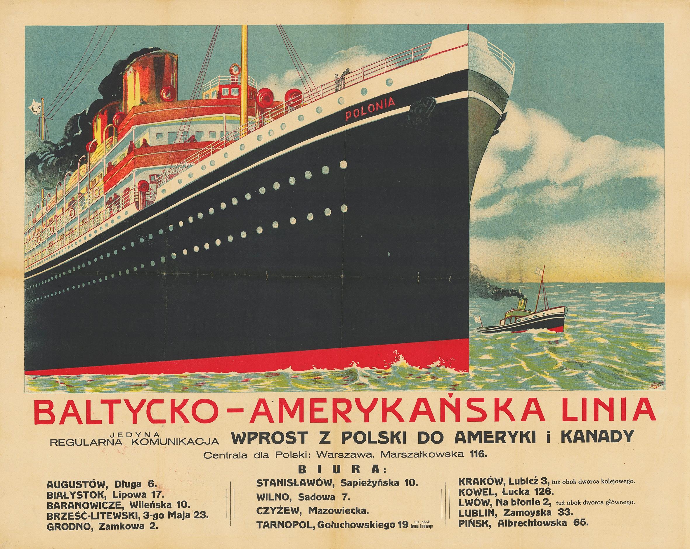 plakat POLSKI Linia Bałtycko Amerykańska 80x60 cm.