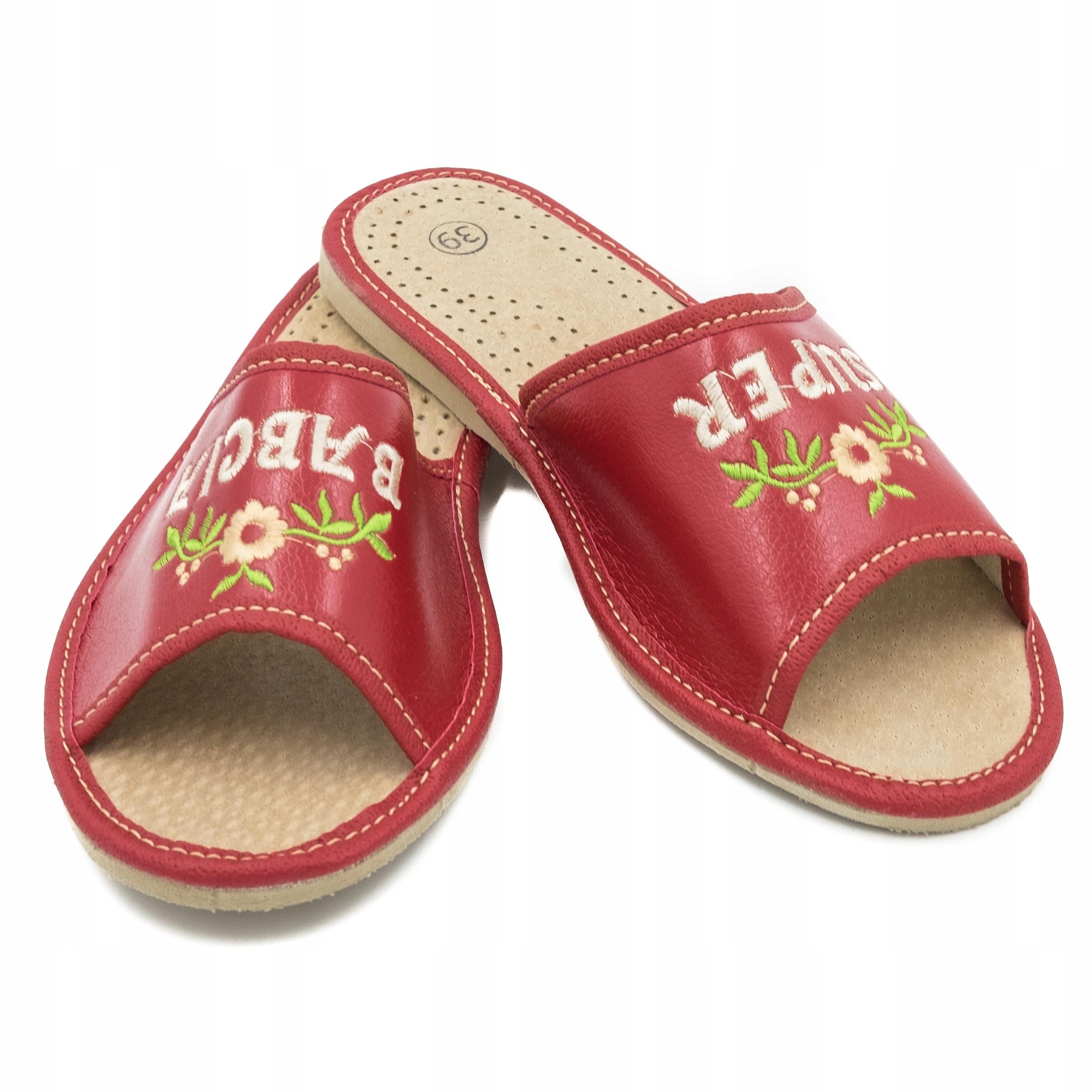 Комфортные кожаные тапочки Супер бабушка Тапочки 38