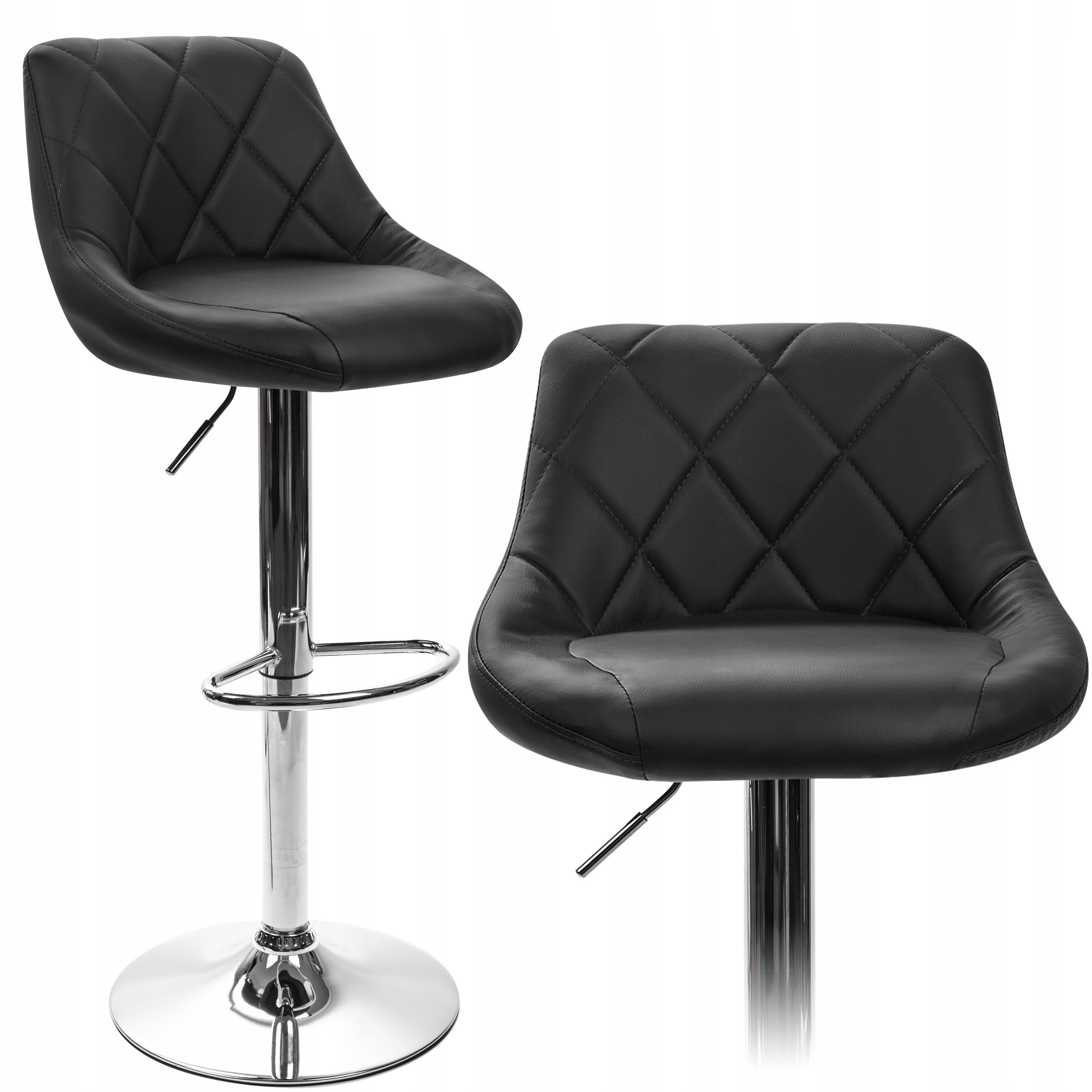 Стеганый барный стул HOKER ADJUSTABLE BLACK