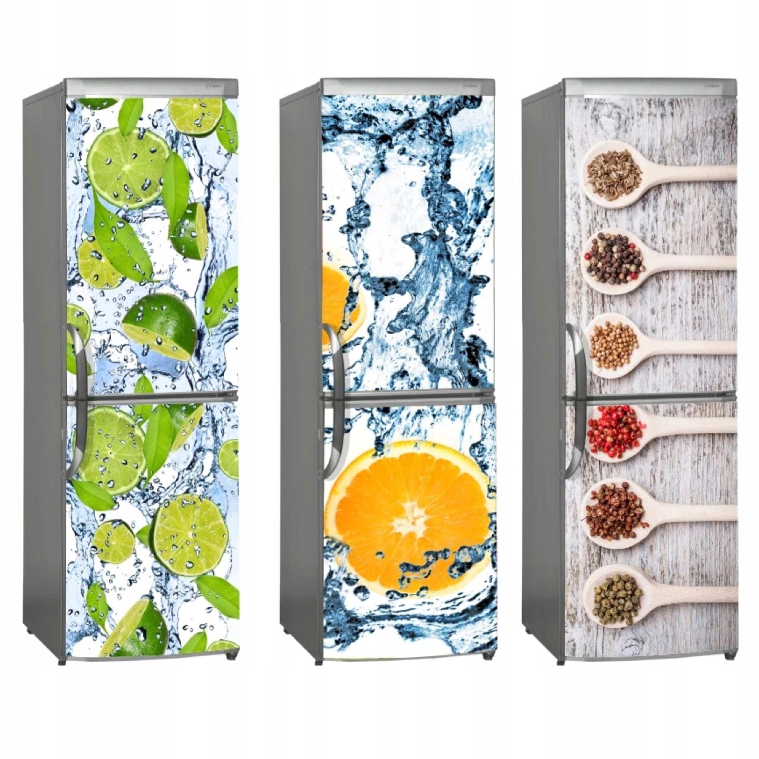 наклейка холодильник На размер фрукты кофе специй