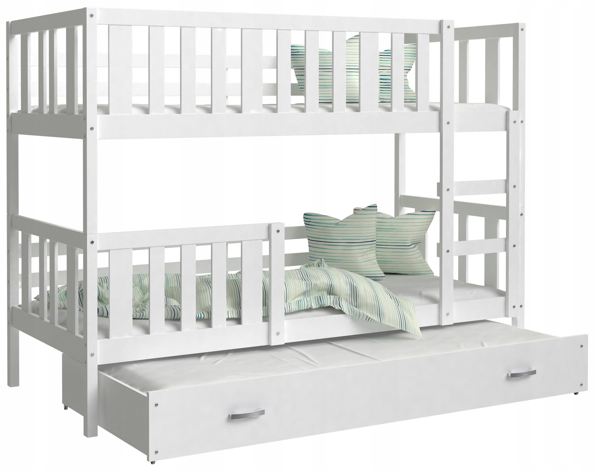 Łóżko piętrowe NEMO 3  osobowe i materac szuflada