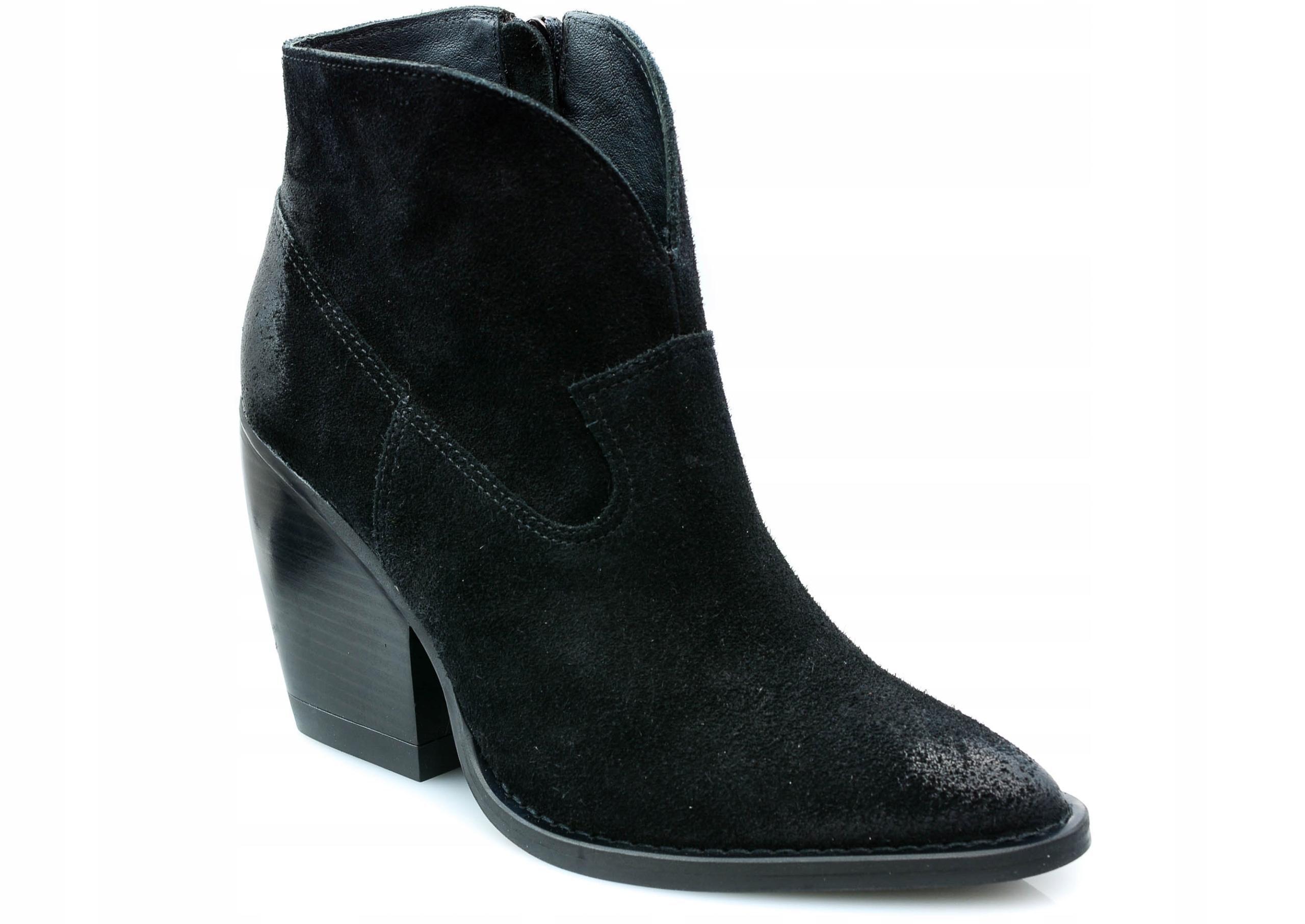 Botki Carinii B5265 czarny 36 skóra buty kowbojki