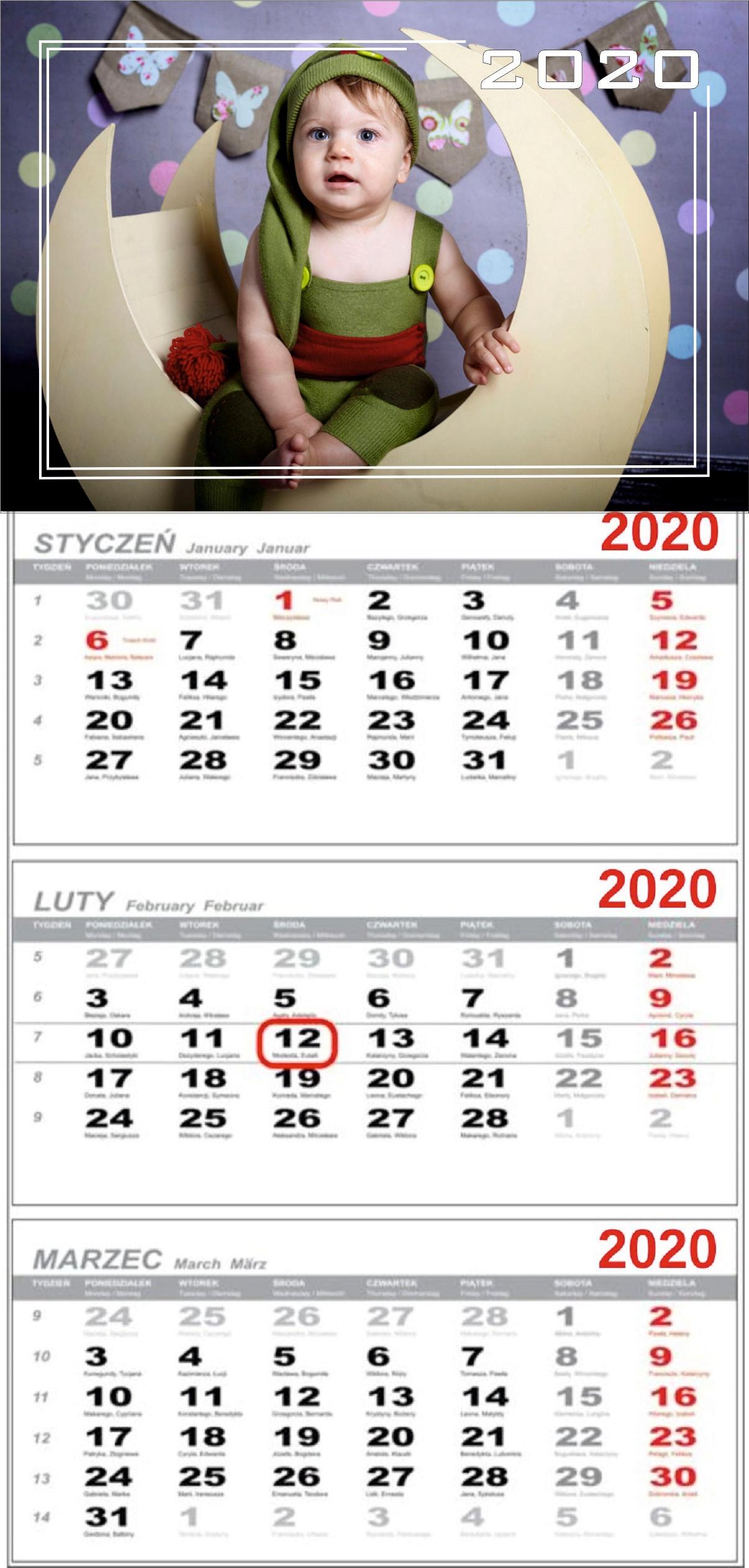 Trojmesačný kalendár s vaším darom