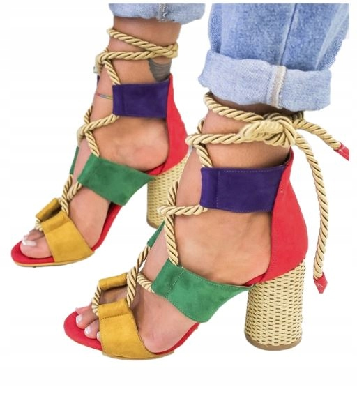 Kolorowe Sandały Na Wysokim Koturnie Lato roz (36) Zdjęcie