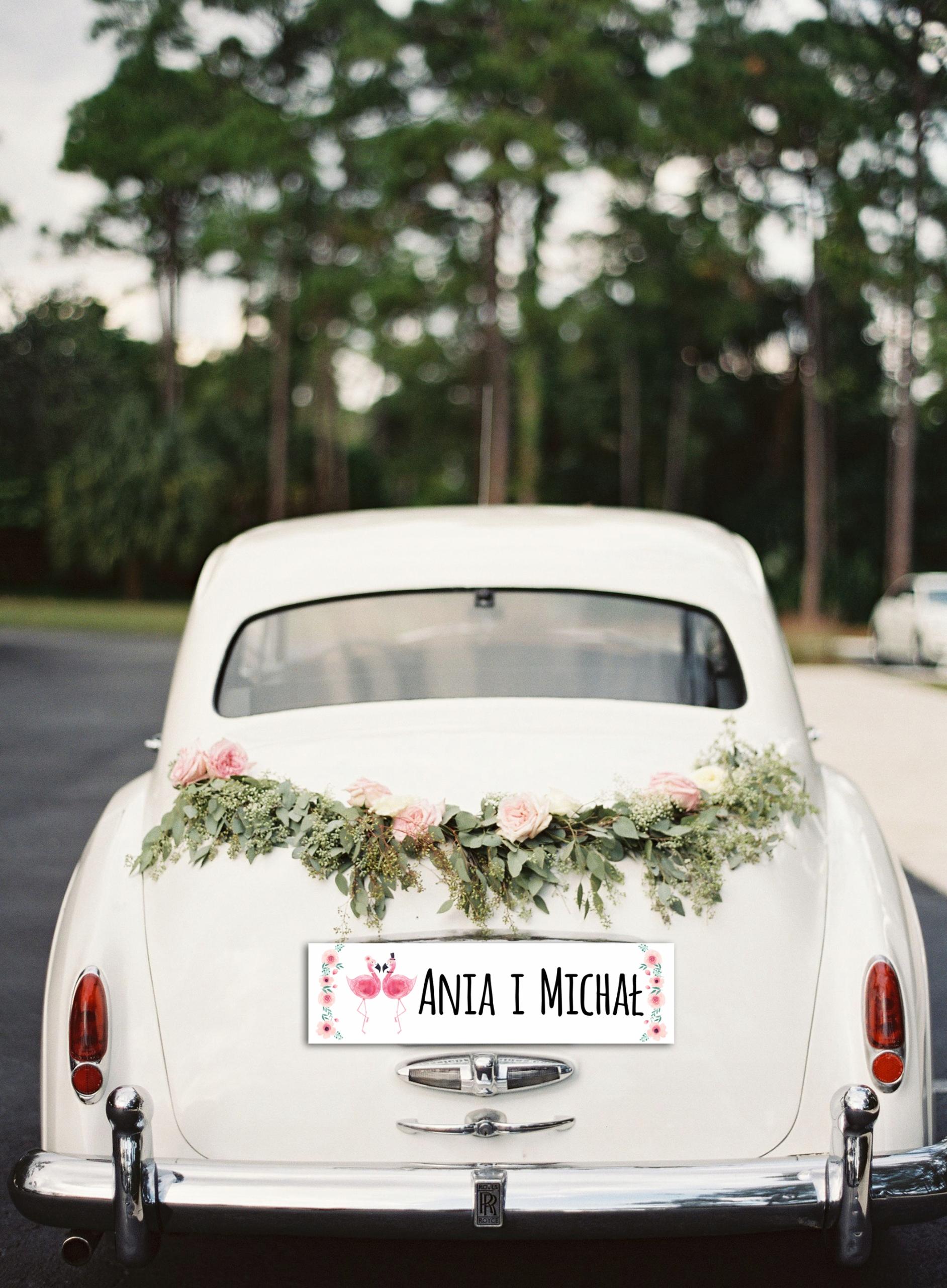 Открытка свадебная машина