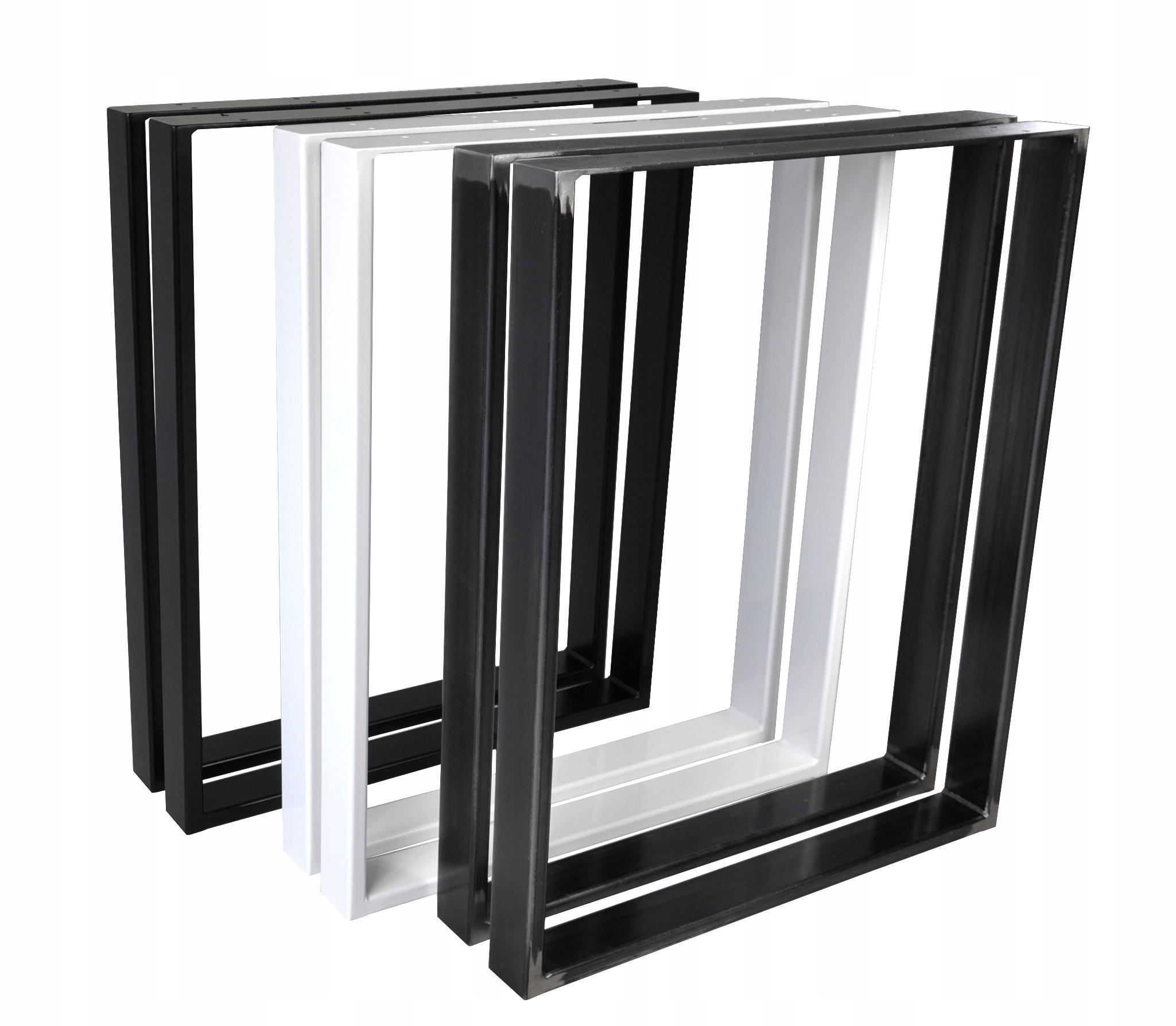 2 x kovové nohy stolov 70 x 72 cm, čierne 6 x 2 cm