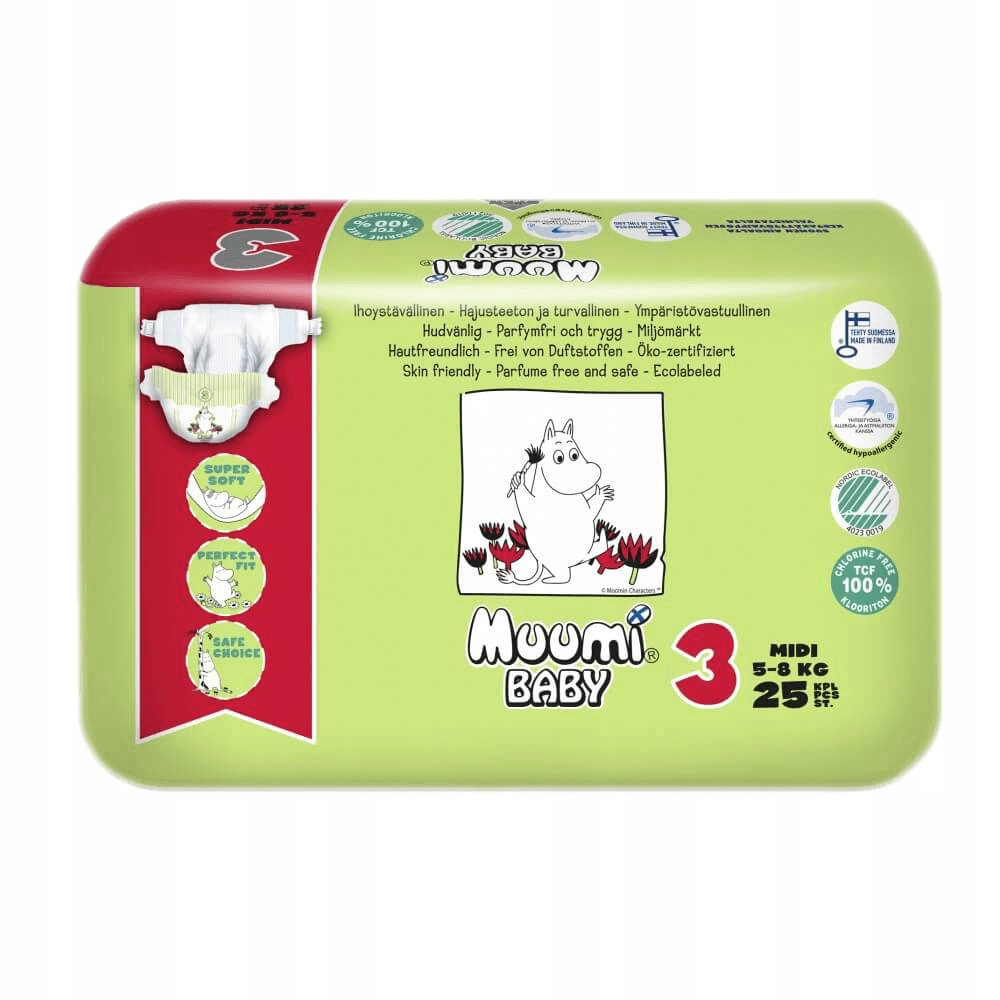 MUUMI Pieluszki ekologiczne 3 MIDI5-8 kg 25szt