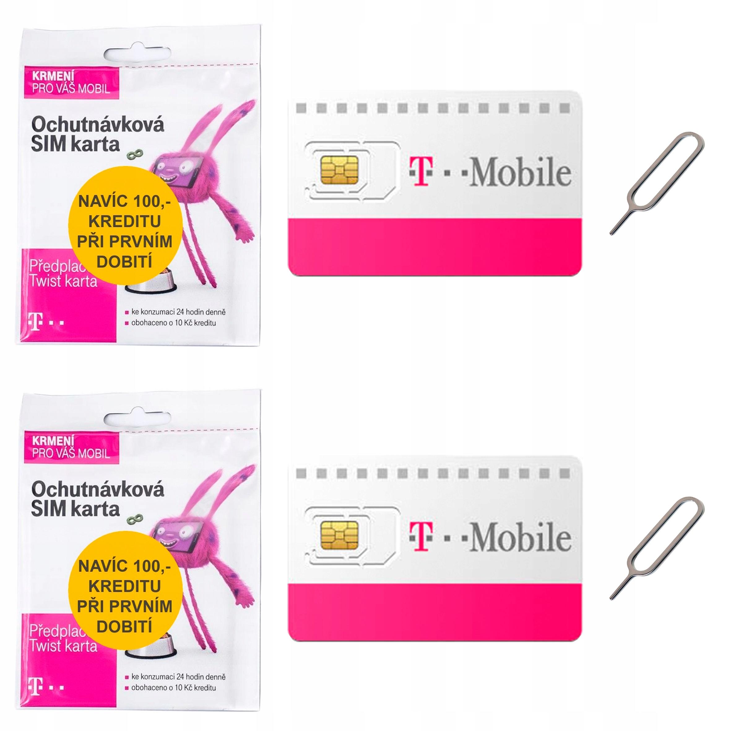 Item Sim card WITHOUT REGISTERING with T-mobile Czech Republic SET 2 PCS.