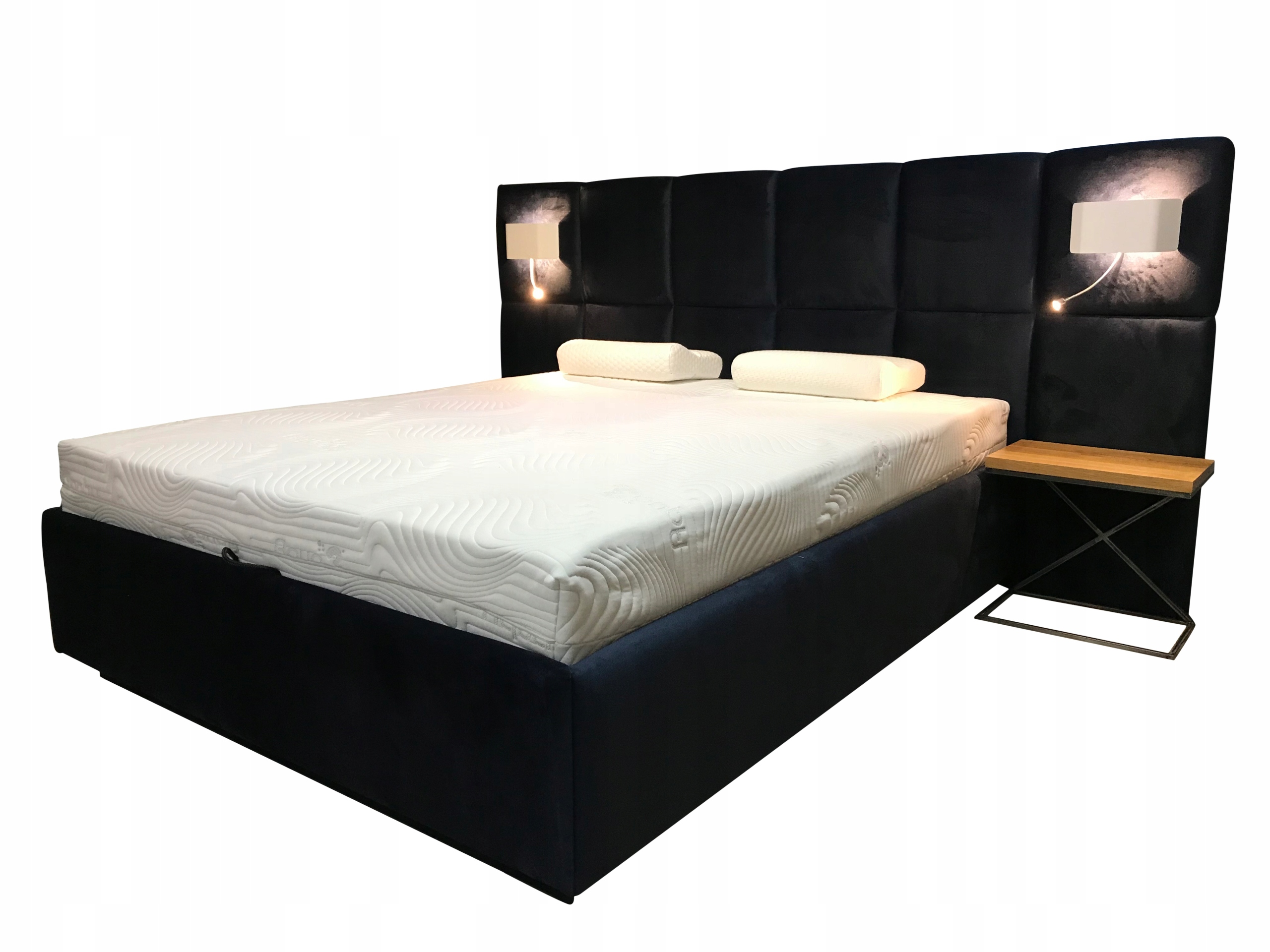 łóżko Tapicerowane Dori 140 Kinkiet Lampka Stelaż
