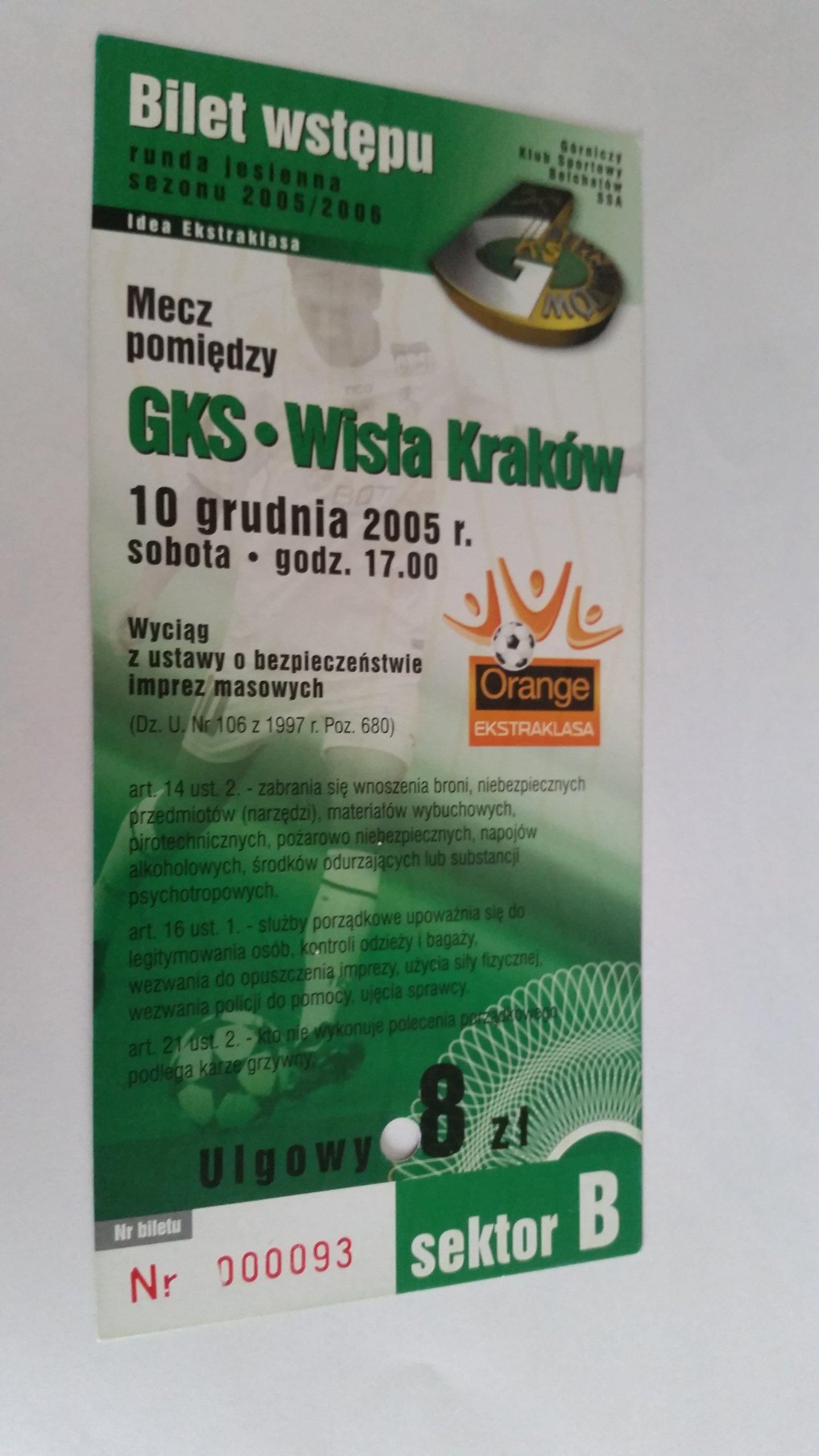 билет на ГКС БЕЛХАТУВ - ВИСЛА Краков, 2005