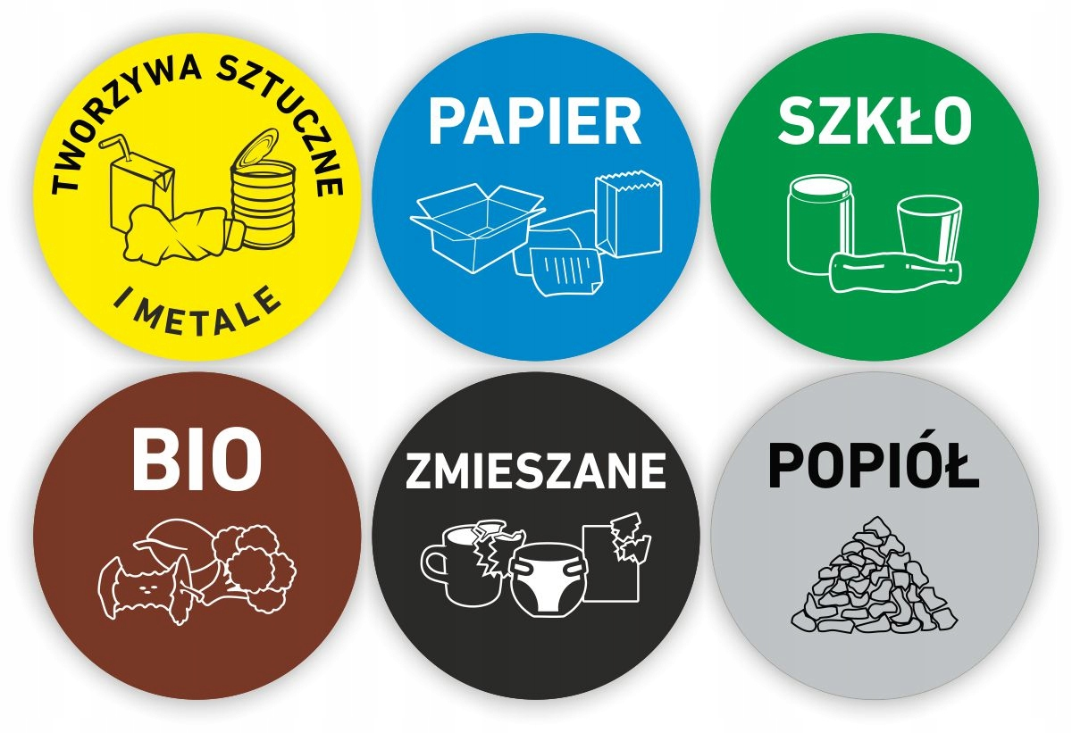 круглые НАКЛЕЙКИ разделение мусора мусорные контейнер