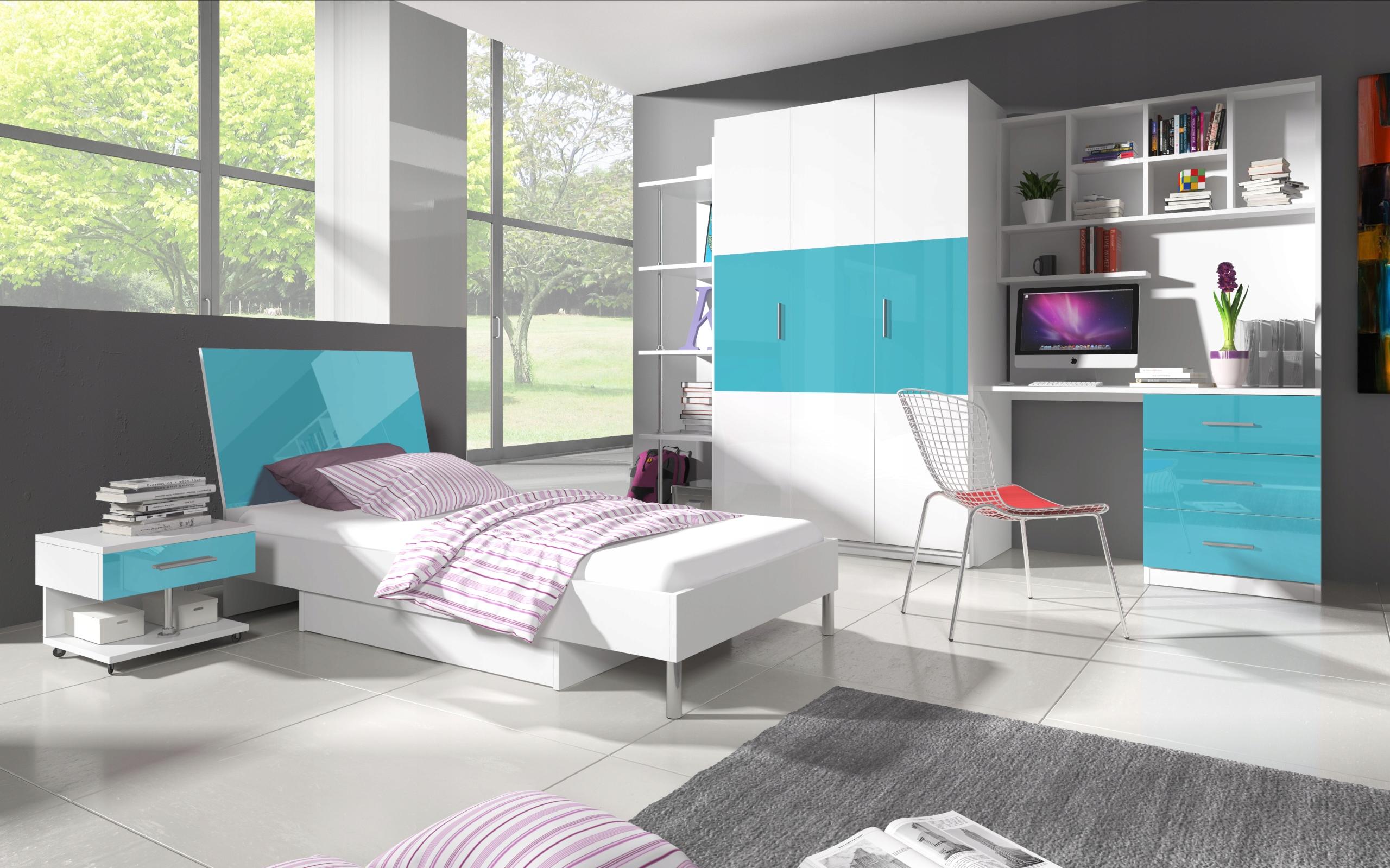 Zestaw mebli RAJ3 łóżko szafa biurko wysoki połysk